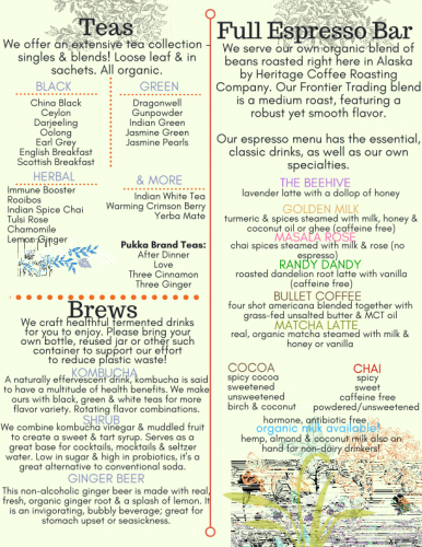 Coffee Tea Menu